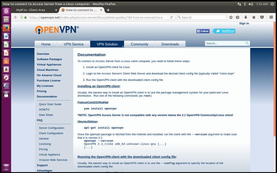 Linux OpenVPN installation and configuration
